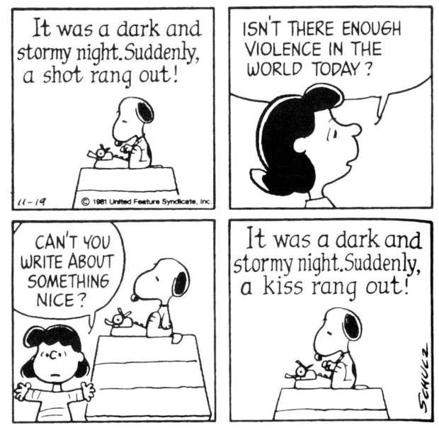 Strip de quatre cases de Peanuts : le chien Snoopy écrit sur une machine à écrire